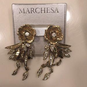 Marchesa Gold Flower Chandelier earrings